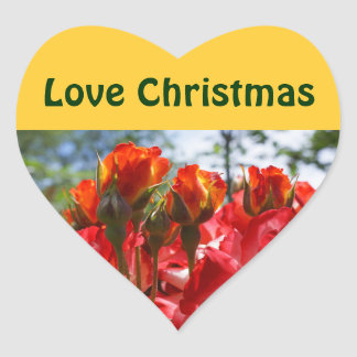 Love Christmas stickers seals RED Roses Flowers