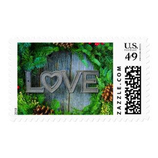 Love Christmas Wreath on Rustic Wood Stamp