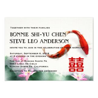 Love Circles | Lotus Koi Double Happiness Wedding Card