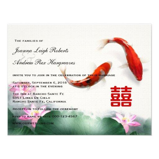Love Circles   Lotus Koi Double Happiness Wedding Custom Invite