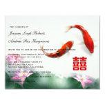 Love Circles | Lotus Koi Double Happiness Wedding 4.25x5.5 Paper Invitation Card