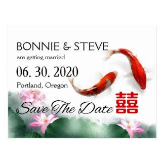 Love Circles   Lotus Koi Double XI Save The Date Postcard