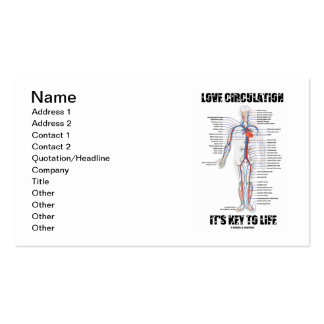 Love Circulation It's Key To Life (Circulatory) Double-Sided Standard Business Cards (Pack Of 100)