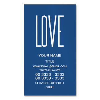 Love Classic Blue Business Card Magnet