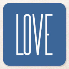Love Classic Blue Square Paper Coaster