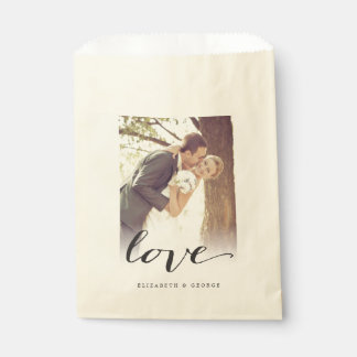 Love Classic Script Chic Calligraphy Photo Wedding Favor Bag