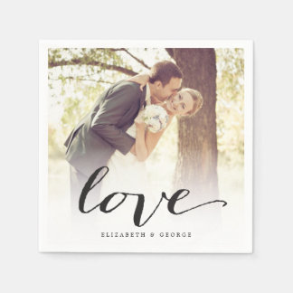 Love Classic Script Chic Calligraphy Photo Wedding Standard Cocktail Napkin