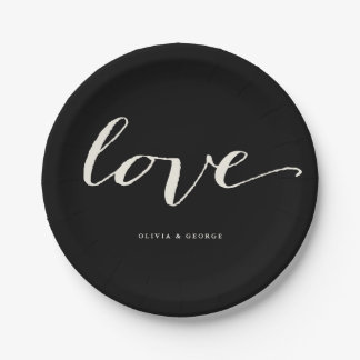 Love Classic Script Stylish Calligraphy Wedding 7 Inch Paper Plate