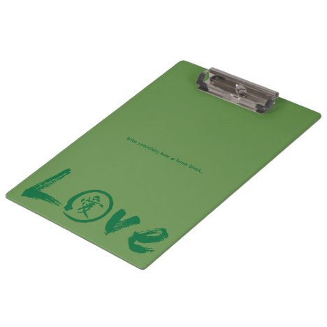 Love clipboards with green kanji and enso circle