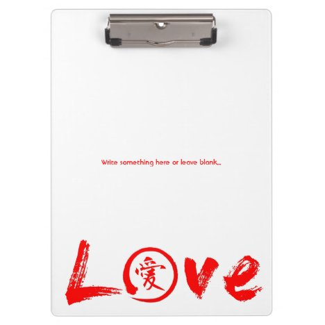 Love clipboards with red kanji and enso circle