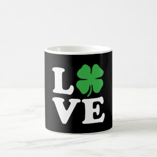 Love Clover Black Coffee Mug