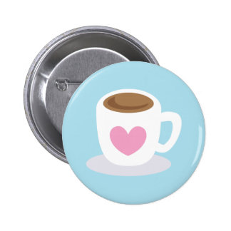 LOVE COFFEE coffee cup with a love heart Button