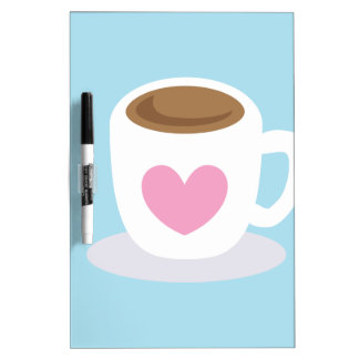 LOVE COFFEE coffee cup with a love heart Dry-Erase Board