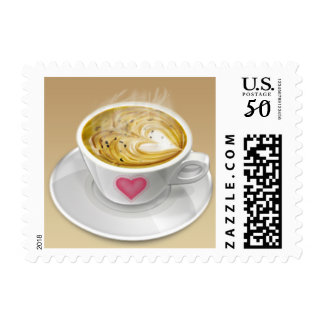 Love Coffee cup, heart Postage