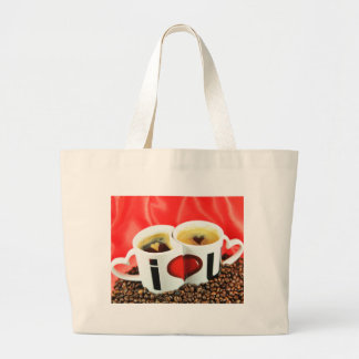 Love coffee design large tote bag