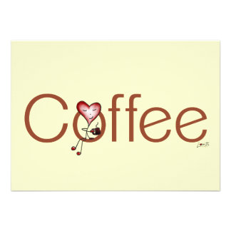 Love Coffee Heart Flat Note Cards Personalized Invitations