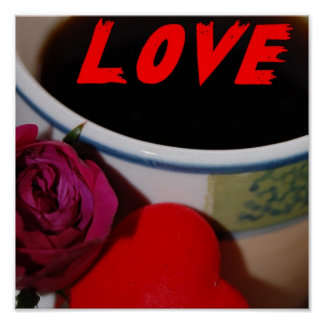 Love Coffee Rose Heart Print