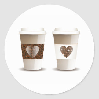 Love Coffee Takeout Cups Stickers