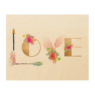 Love collage on wood with feathers wood wall decor