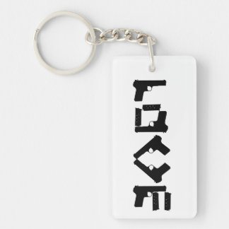 LOVE Collection Black 2 sided Monogram Keychain