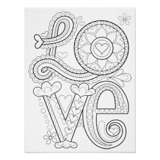 Love Coloring Poster - Colorable Love Art Poster