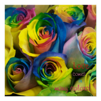 Love comes in many colors Rainbow Roses Poster