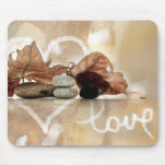 """Love"" composition pebbles ans leaves Mouse Pad"