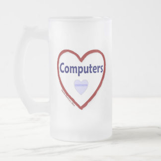 Love Computers Frosted Glass Beer Mug