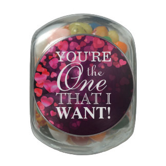 Love Concept with Hearts Glass Candy Jar