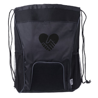 Love Connected black heart Drawstring Backpack