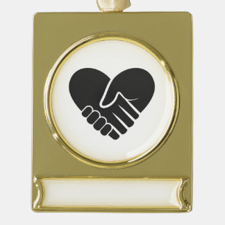 Love Connected black heart Gold Plated Banner Ornament