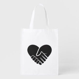 Love Connected black heart Reusable Grocery Bag