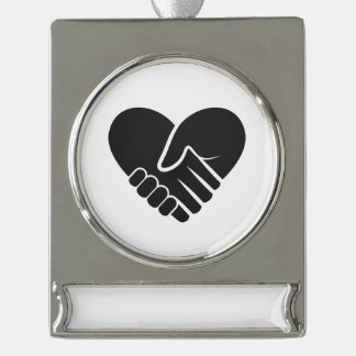 Love Connected black heart Silver Plated Banner Ornament