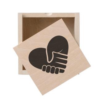 Love Connected black heart Wooden Keepsake Box