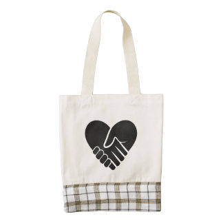 Love Connected black heart Zazzle HEART Tote Bag