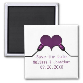 Love Connection USB Save the Date Magnet, Purple Magnet