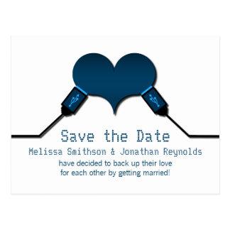 Love Connection USB Save the Date Postcard, Blue Postcard