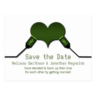 Love Connection USB Save the Date Postcard, Green Postcard