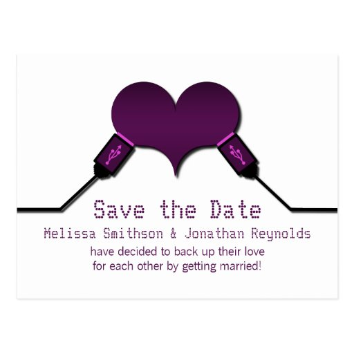 Love Connection USB Save the Date Postcard, Purple