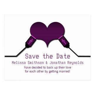 Love Connection USB Save the Date Postcard, Purple Postcard