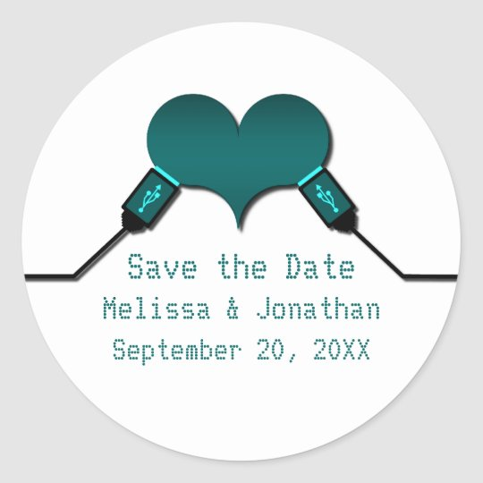 Love Connection USB Save the Date Stickers, Teal Classic Round Sticker