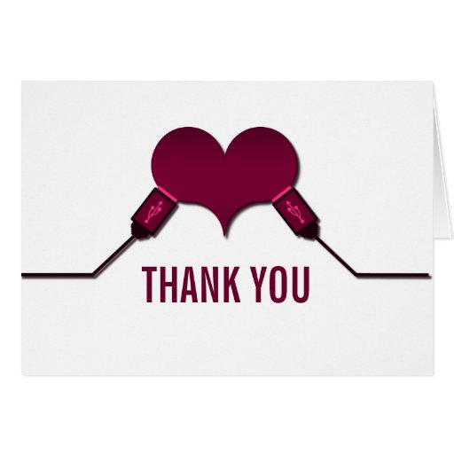 Love Connection USB Thank You Card, Fuchsia Stationery Note Card