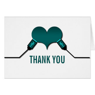 Love Connection USB Thank You Card, Teal Card