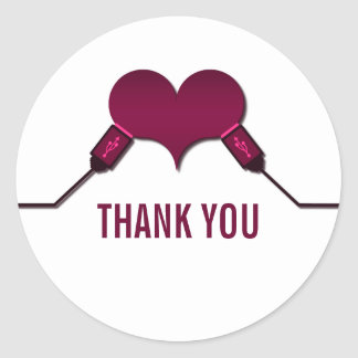 Love Connection USB Thank You Stickers, Fuchsia Classic Round Sticker
