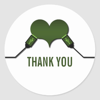 Love Connection USB Thank You Stickers, Green Classic Round Sticker