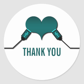 Love Connection USB Thank You Stickers, Teal Classic Round Sticker