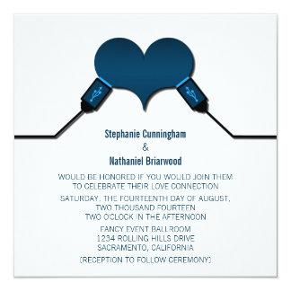 Love Connection USB Wedding Invitation, Blue Card