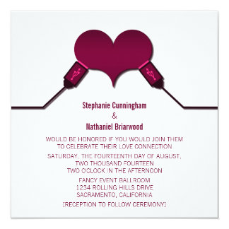 Love Connection USB Wedding Invitation, Fuchsia Card
