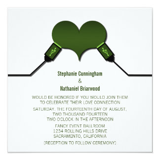 Love Connection USB Wedding Invitation, Green Card