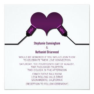 Love Connection USB Wedding Invitation, Purple Card